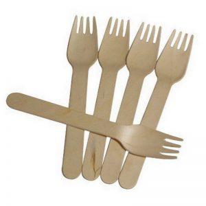 100-pz-lotto-Rustico-E-Getta-Forchetta-di-Legno-Mangiare-Utensili-Da-Sposa-Partito-Forks-Hot